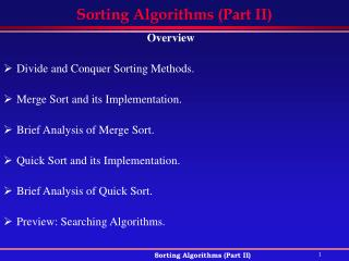 Sorting Algorithms (Part II)