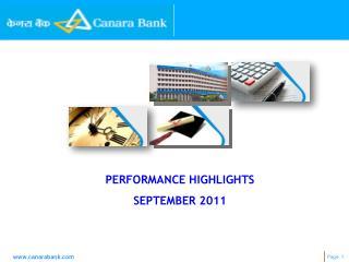 PERFORMANCE HIGHLIGHTS SEPTEMBER 2011