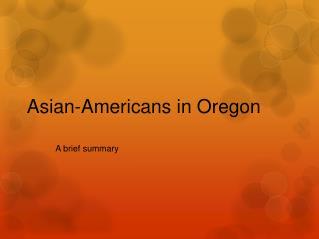 Asian-Americans in Oregon