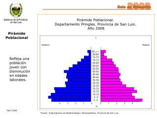 Pirámide Poblacional. Departamento Pringles. Provincia de San Luis.  Año 2008