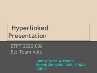 Hyperlinked Presentation