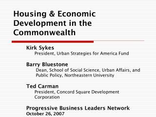 Housing & Economic Development in the Commonwealth