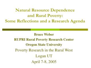 Natural Resource Dependence  and Rural Poverty:  Some Reflections and a Research Agenda