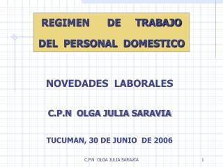 NOVEDADES  LABORALES C.P.N  OLGA JULIA SARAVIA TUCUMAN, 30 DE JUNIO  DE 2006