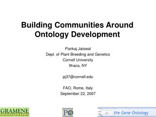 Building Communities Around Ontology Development