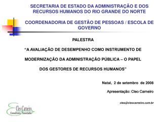 """PALESTRA """"A AVALIAÇÃO DE DESEMPENHO COMO INSTRUMENTO DE"""