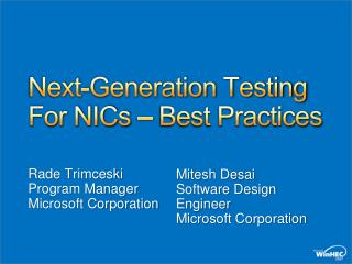 Next-Generation Testing For NICs   Best Practices