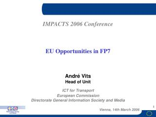 ICT for Transport European Commission Directorate General Information Society and Media