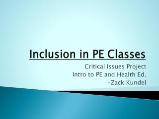 Inclusion in PE Classes