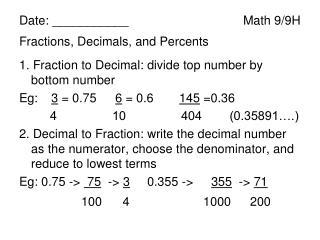 Date: ___________Math 9/9H