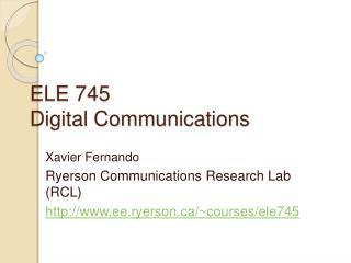 ELE 745  Digital Communications