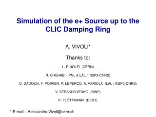 Simulation of the e+ Source up to the CLIC Damping Ring