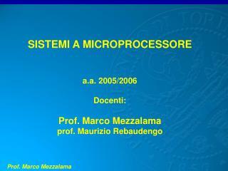 SISTEMI A MICROPROCESSORE a.a. 2005/2006 Docenti: Prof. Marco Mezzalama prof. Maurizio Rebaudengo