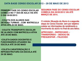 PRIMEIRA FASE DO CENSO ESCOLAR COME�A NO 1� DIA DE AULA VAI AT� O DIA 29/05/2013