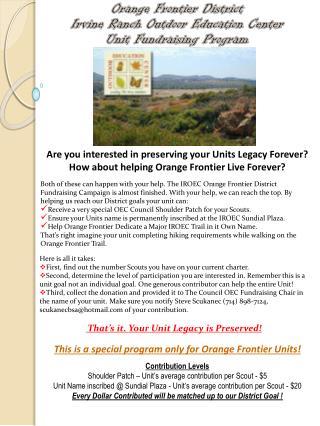 Orange Frontier District  Irvine Ranch Outdoor Education Center  Unit Fundraising Program