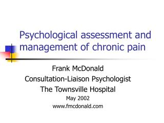 Psychological assessment and management of chronic pain