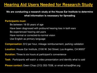 Hearing Aid Users Needed for Research Study