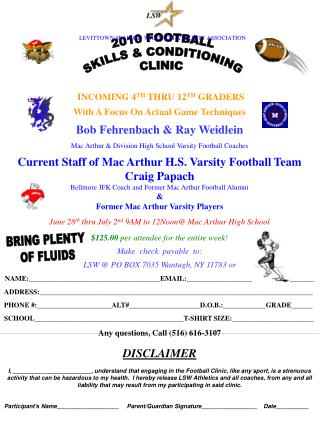 INCOMING 4 TH  THRU 12 TH  GRADERS With A Focus On Actual Game Techniques