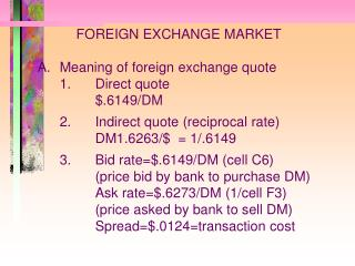 FOREIGN EXCHANGE MARKET 	A.	Meaning of foreign exchange quote 		1.	Direct quote 			$.6149/DM