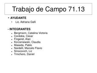Trabajo de Campo 71.13