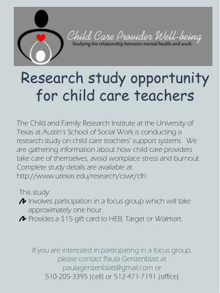 Research study opportunity for child care teachers