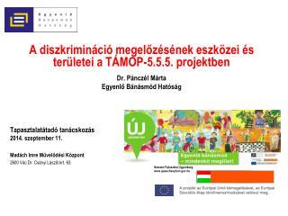 A diszkrimináció megelőzésének eszközei és területei a TÁMOP-5.5.5. projektben Dr. Pánczél Márta