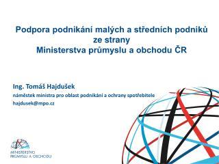 Podpora podnikání malých a středních podniků ze strany  Ministerstva průmyslu a obchodu ČR