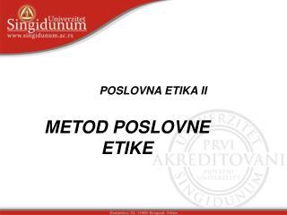 POSLOVNA ETIKA II