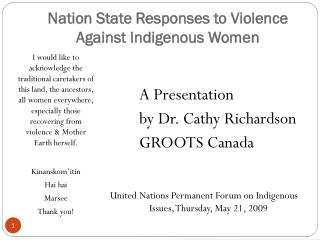 Nation State Responses to Violence  Against Indigenous Women