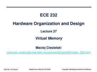 ECE 232 Hardware Organization and Design Lecture 27 Virtual Memory