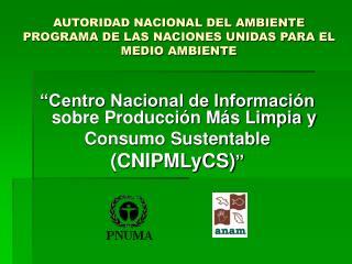 AUTORIDAD NACIONAL DEL AMBIENTE PROGRAMA DE LAS NACIONES UNIDAS PARA EL MEDIO AMBIENTE