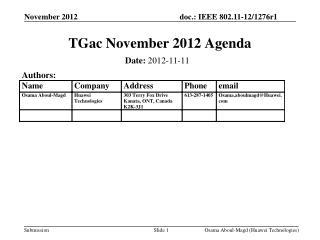 TGac November 2012 Agenda