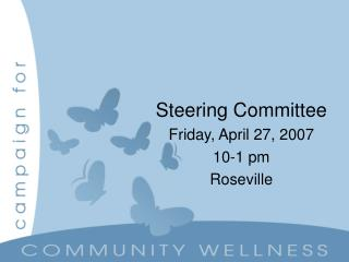 Steering Committee Friday, April 27, 2007 10-1 pm Roseville