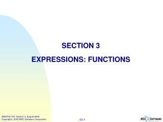SECTION 3 EXPRESSIONS: FUNCTIONS