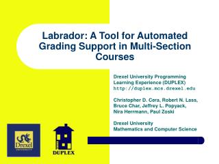 Labrador: A Tool for Automated Grading Support in Multi-Section Courses