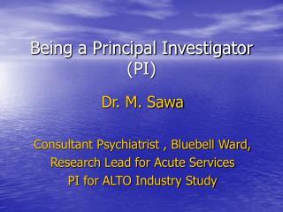 Being a Principal Investigator (PI)