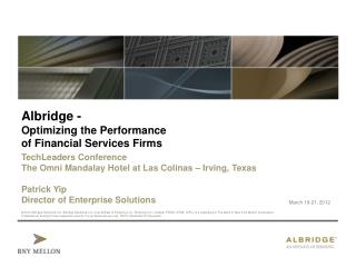 Albridge - Optimizing the Performance of Financial Services Firms