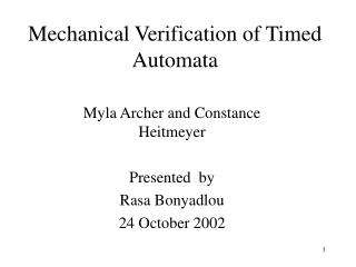 Mechanical Verification of Timed Automata