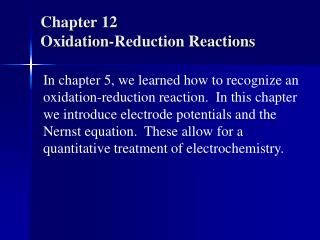 Chapter 12 Oxidation-Reduction Reactions