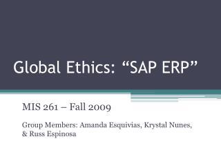Global Ethics: