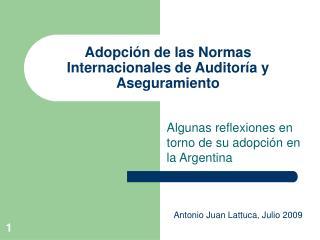 Adopción de las Normas Internacionales de Auditoría y Aseguramiento
