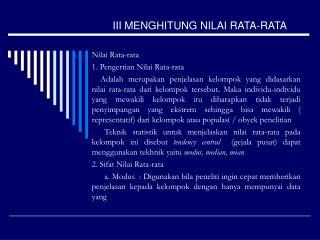 III MENGHITUNG NILAI RATA-RATA