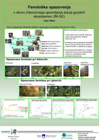 Poster pripravila:  Dr. Ur�a Vilhar Oddelek za gozdno ekologijo Gozdarski In�titut Slovenije