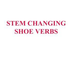 STEM CHANGING  SHOE VERBS
