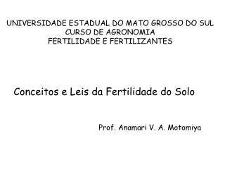 UNIVERSIDADE ESTADUAL DO MATO GROSSO DO SUL CURSO DE AGRONOMIA FERTILIDADE E FERTILIZANTES