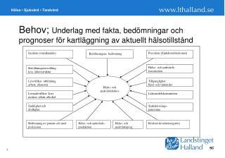 Behov;  Underlag med fakta, bedömningar och prognoser för kartläggning av aktuellt hälsotillstånd