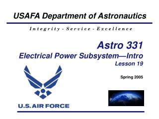 Astro 331 Electrical Power Subsystem—Intro Lesson 19