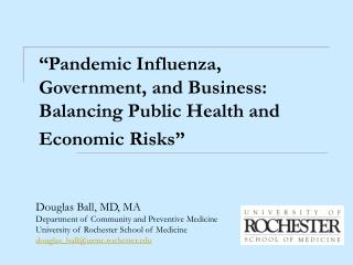 """Pandemic Influenza, Government, and Business:   Balancing Public Health and Economic Risks"""