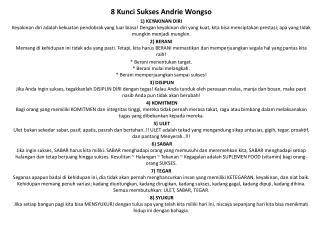 8  Kunci Sukses Andrie Wongso