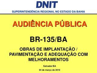 BR-135/BA OBRAS DE IMPLANTAÇÃO / PAVIMENTAÇÃO E ADEQUAÇÃO COM MELHORAMENTOS